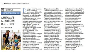 On today's IL PICCOLO di Trieste about ICTP SciFabLab